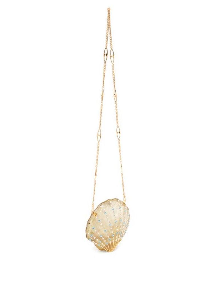 White Gucci Crystal Blue Sea Shell Gold Kisslock Logo Evening Shoulder Clutch Bag For Sale