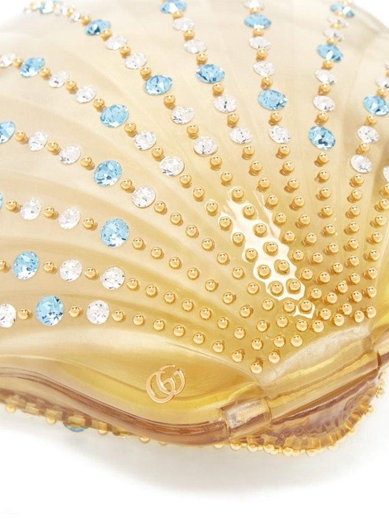 Women's Gucci Crystal Blue Sea Shell Gold Kisslock Logo Evening Shoulder Clutch Bag For Sale