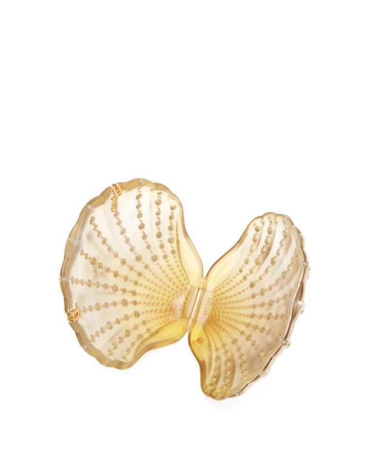 Gucci Crystal Blue Sea Shell Gold Kisslock Logo Evening Shoulder Clutch Bag For Sale 1
