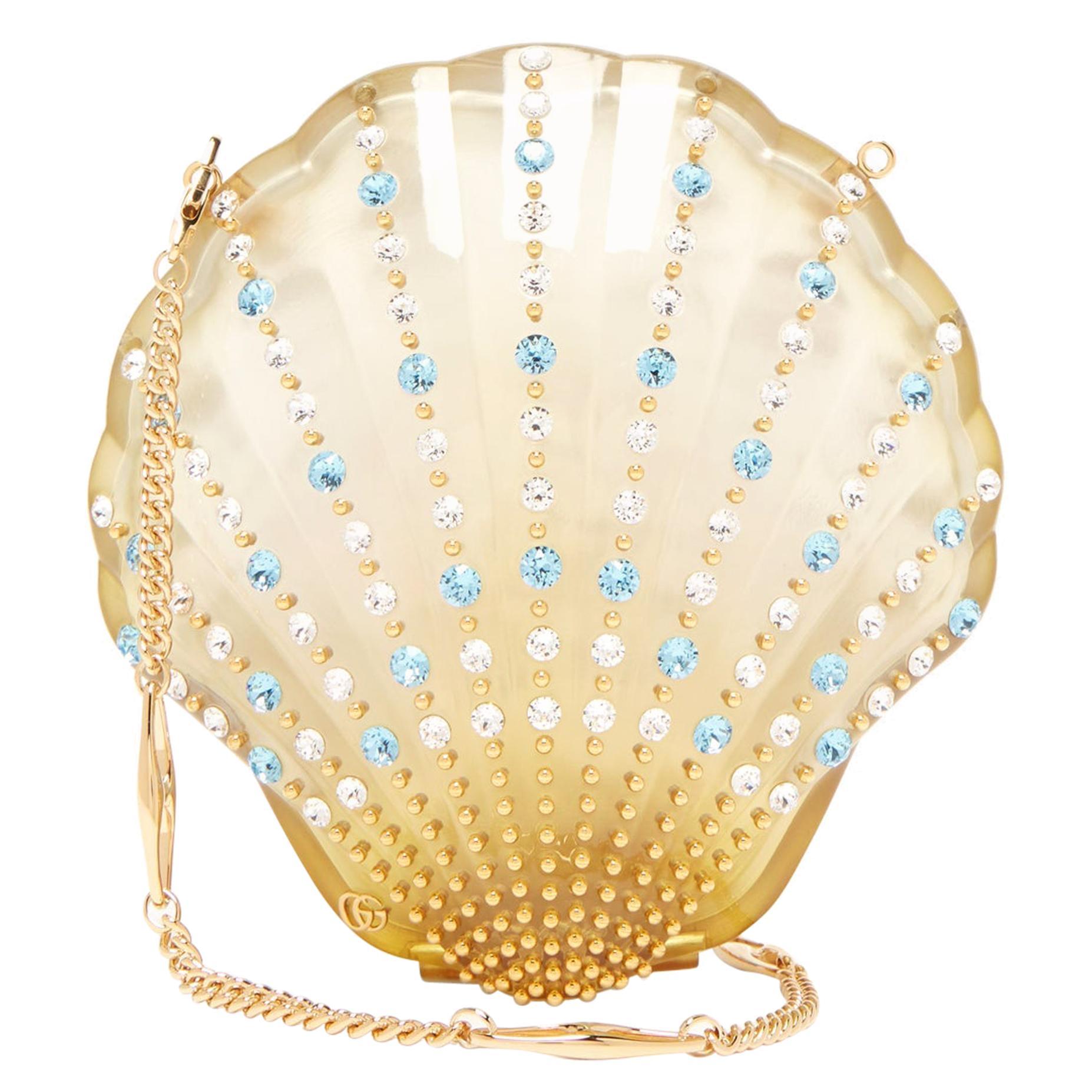 Gucci Crystal Blue Sea Shell Gold Kisslock Logo Evening Shoulder Clutch Bag