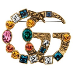 Gucci Crystal Double G brooch Multi-Colour