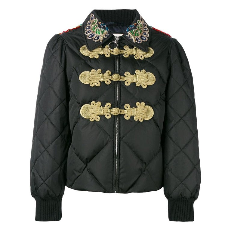 GUCCI Crystal Embellished Padded Jacket IT38 US 2-4 For Sale