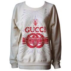 Gucci Crystal-Embellished Printed Cotton-Jersey Sweatshirt