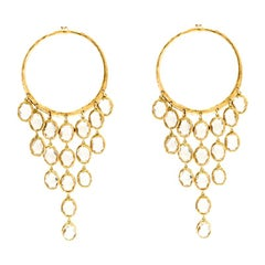 Gucci Crystal Hammered 18k Yellow Gold Dangle Hoop Earrings