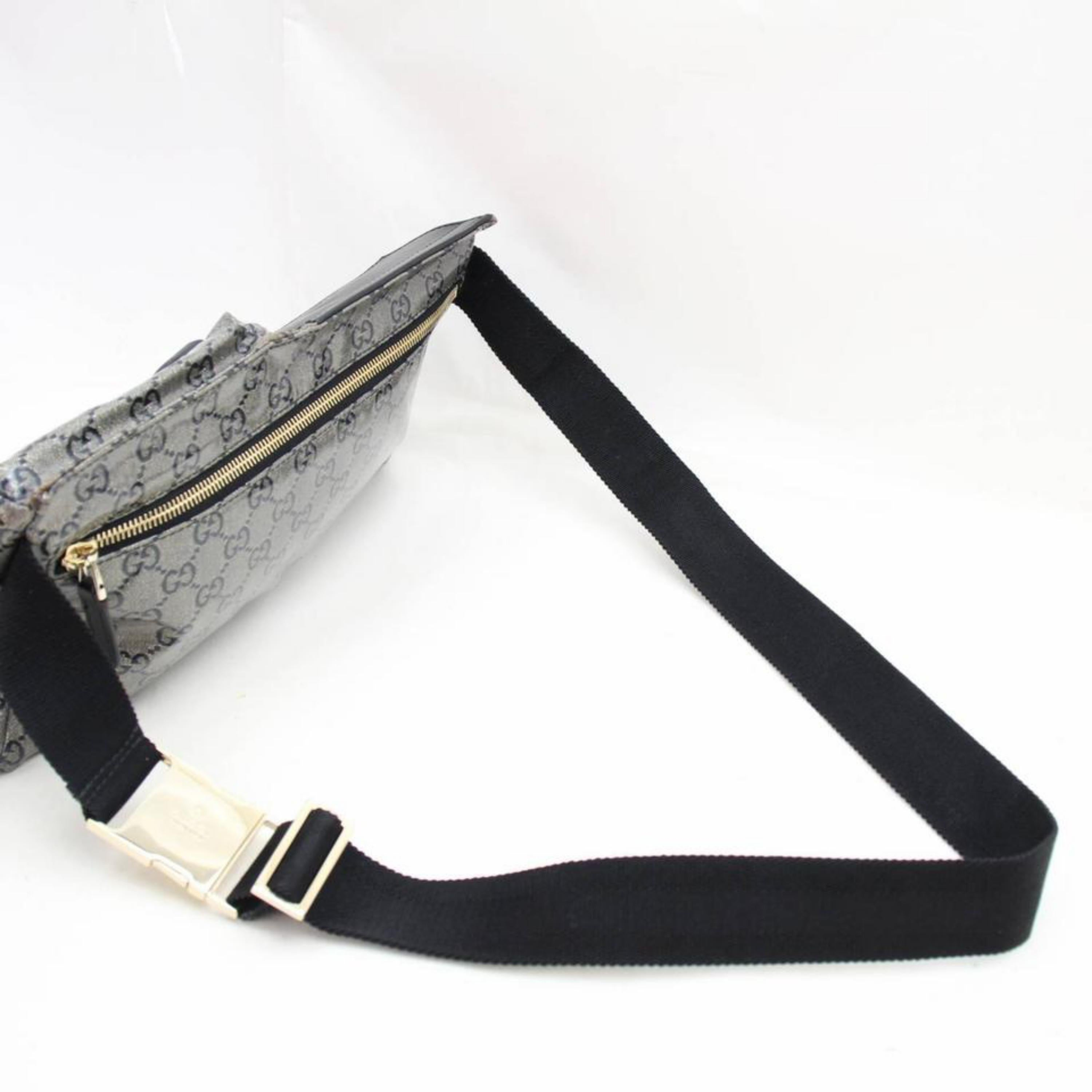 243ca61d514cda Gucci Crystal Monogram Belt Waist Pouch 867375 Grey Coated Canvas Cross  Body Bag For Sale at 1stdibs