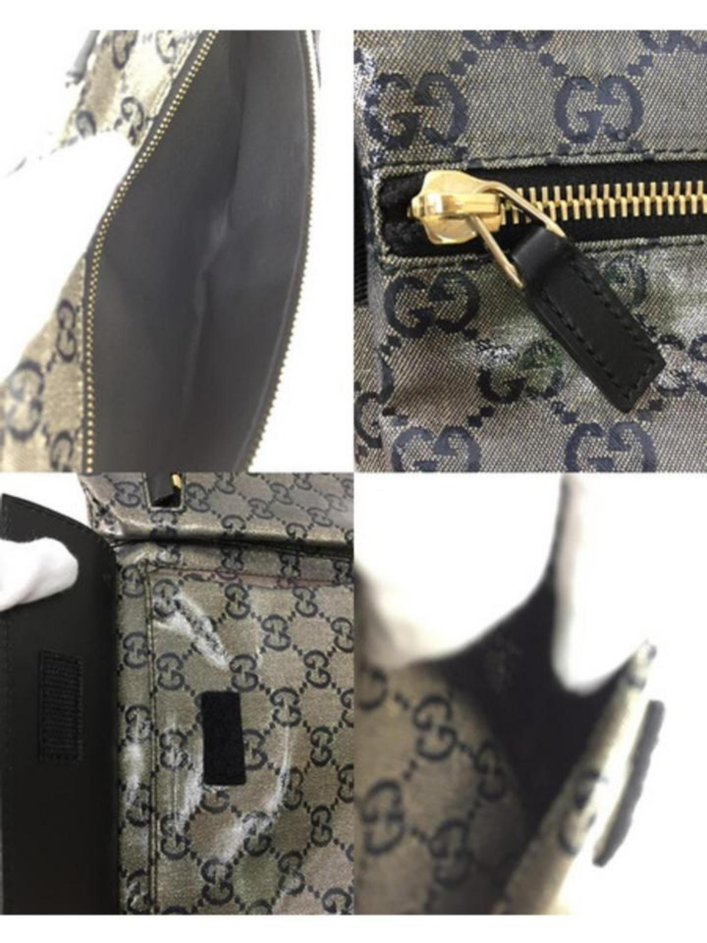 6be63a7d70c1 Gucci Crystal Monogram Gg Belt Fanny Pack 228312 Black Coated Canvas Cross  Body For Sale at 1stdibs