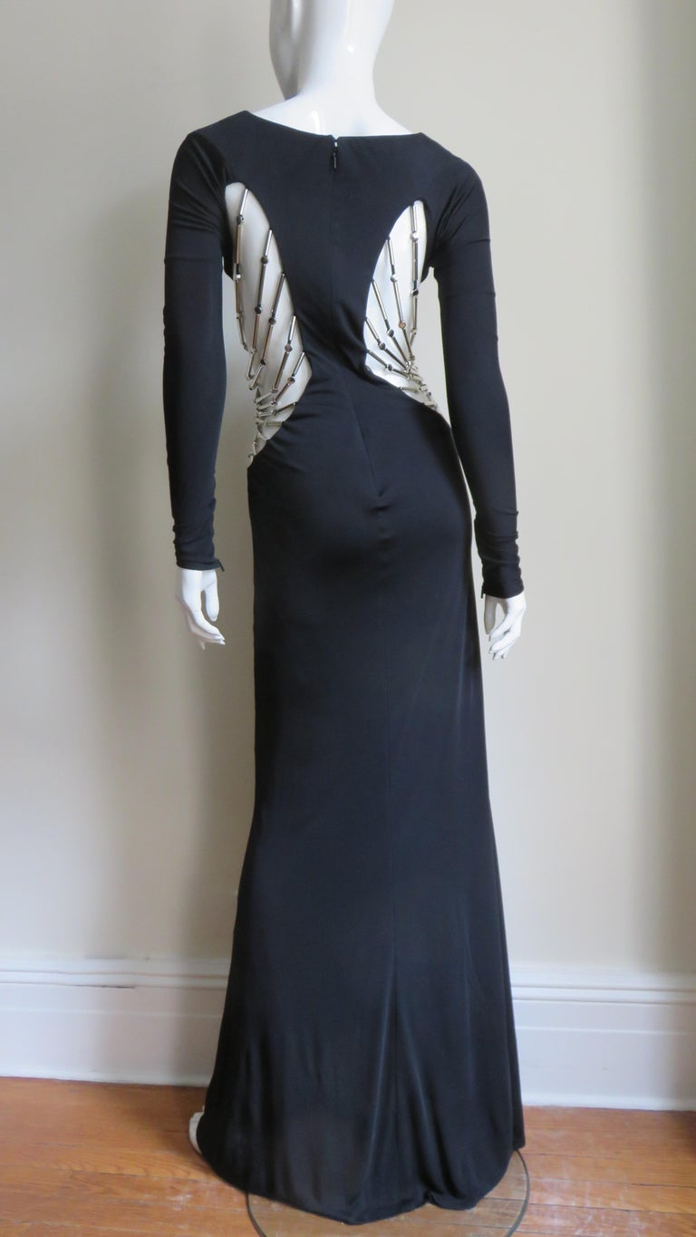 Gucci Cut out Gown with Crystal Embellished Hardware Drapery For Sale 7