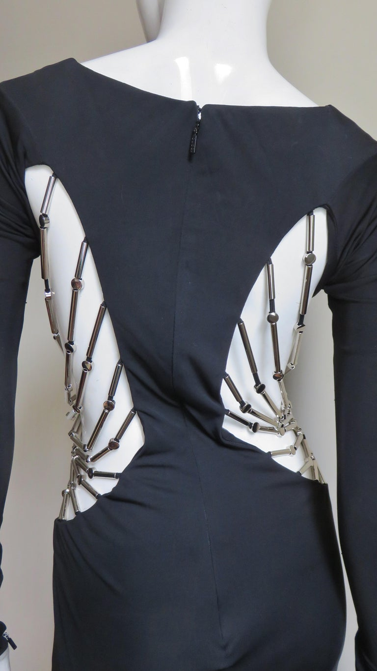 Gucci Cut out Gown with Crystal Embellished Hardware Drapery For Sale 9