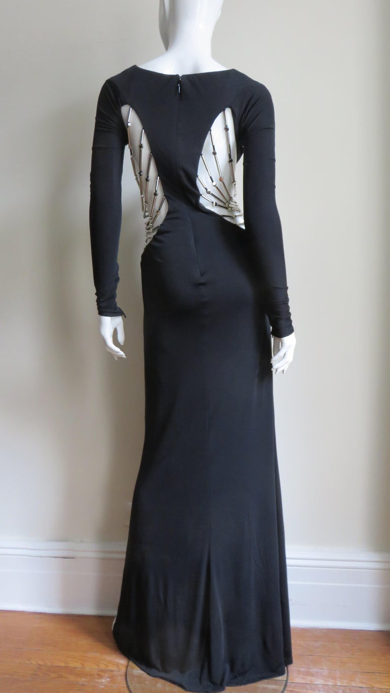 Gucci Cut out Gown with Crystal Embellished Hardware Drapery For Sale 12