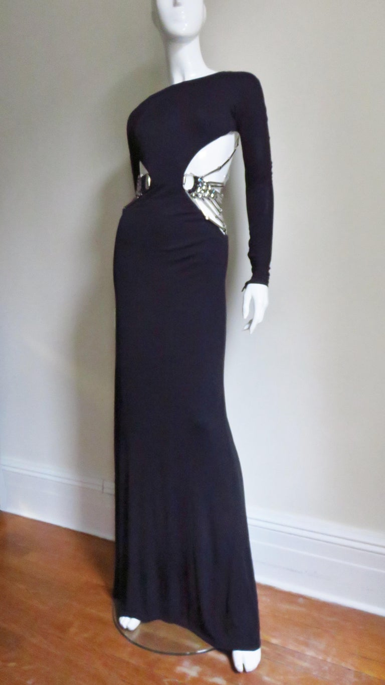 Black Gucci Cut out Gown with Crystal Embellished Hardware Drapery For Sale