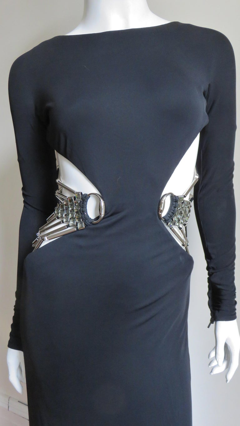 Gucci Cut out Gown with Crystal Embellished Hardware Drapery For Sale 1