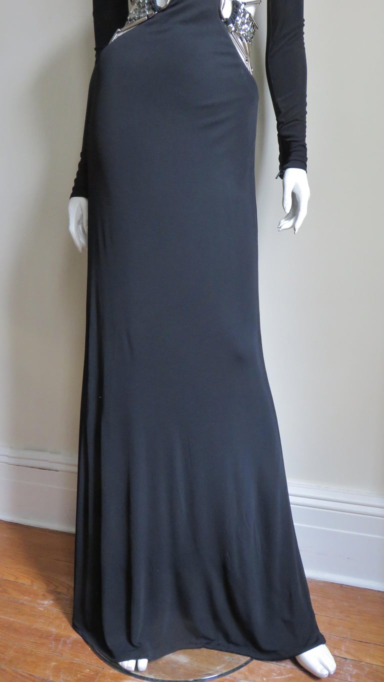 Gucci Cut out Gown with Crystal Embellished Hardware Drapery For Sale 2