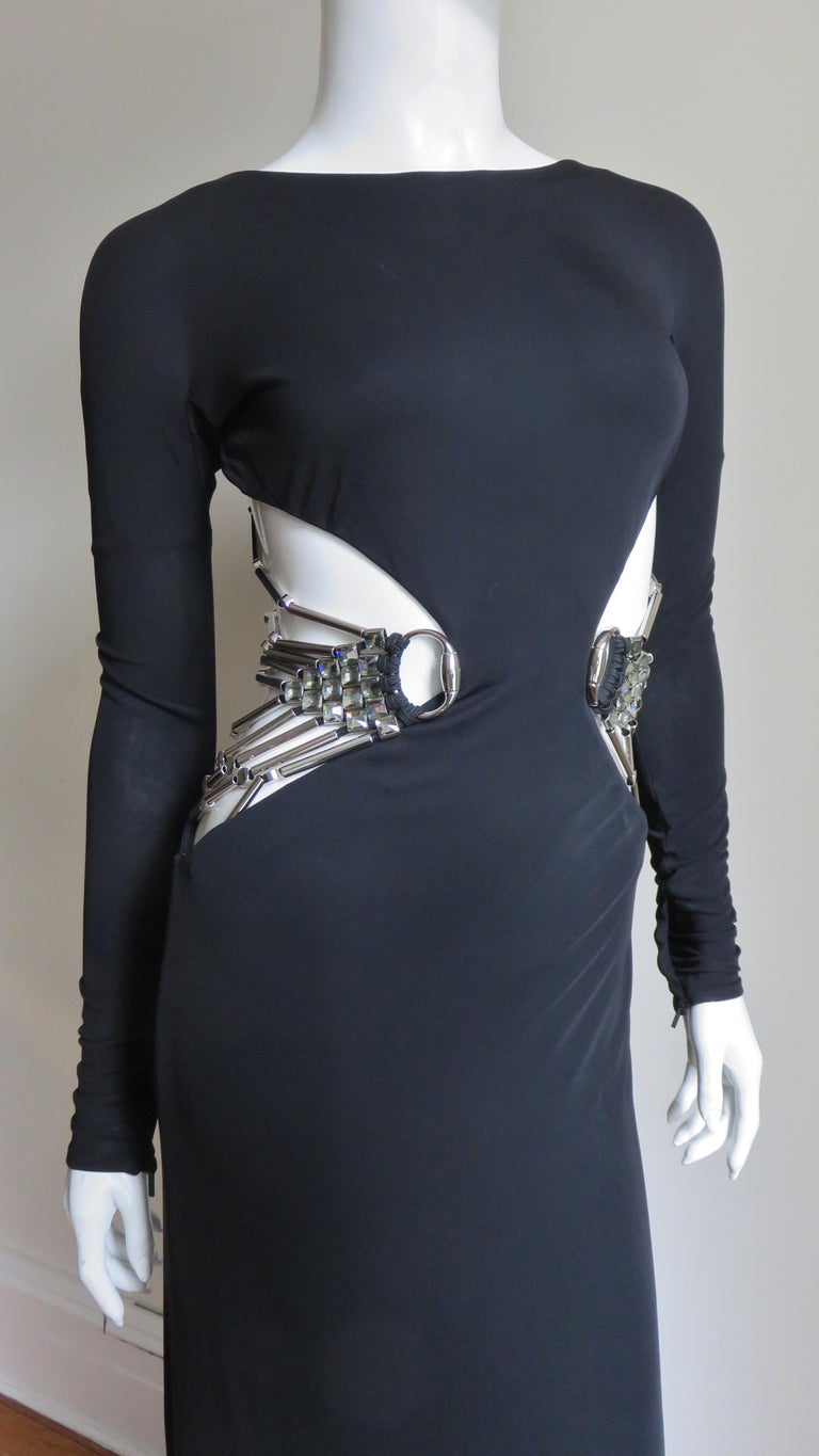 Gucci Cut out Gown with Crystal Embellished Hardware Drapery For Sale 3