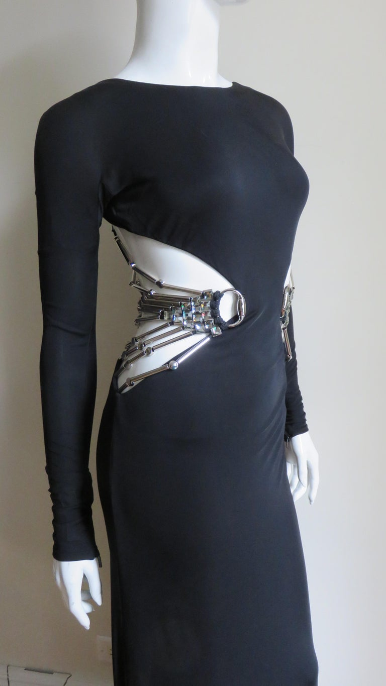 Gucci Cut out Gown with Crystal Embellished Hardware Drapery For Sale 4