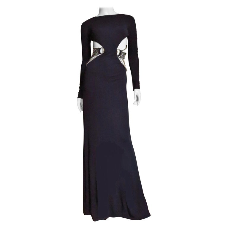 Gucci Cut out Gown with Crystal Embellished Hardware Drapery For Sale