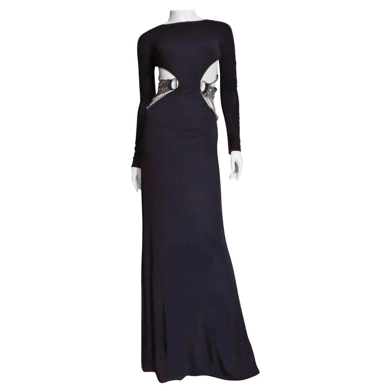 Gucci Cut out Gown with Swarovski Hardware  For Sale