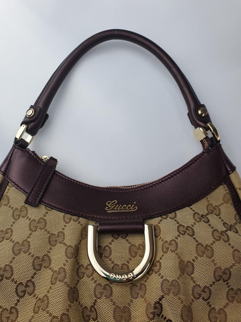 Gucci, D-ring Hobo in brown canvas For Sale 5