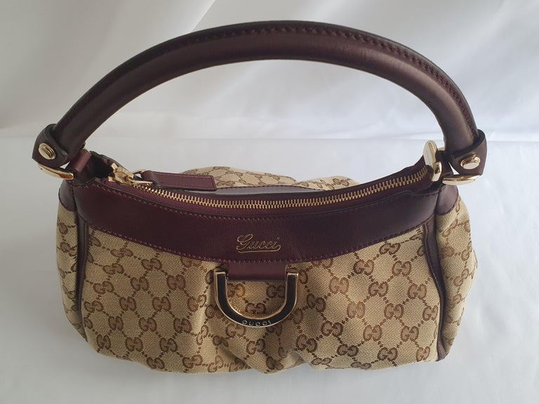 Gucci, D-ring Hobo in brown canvas For Sale 6