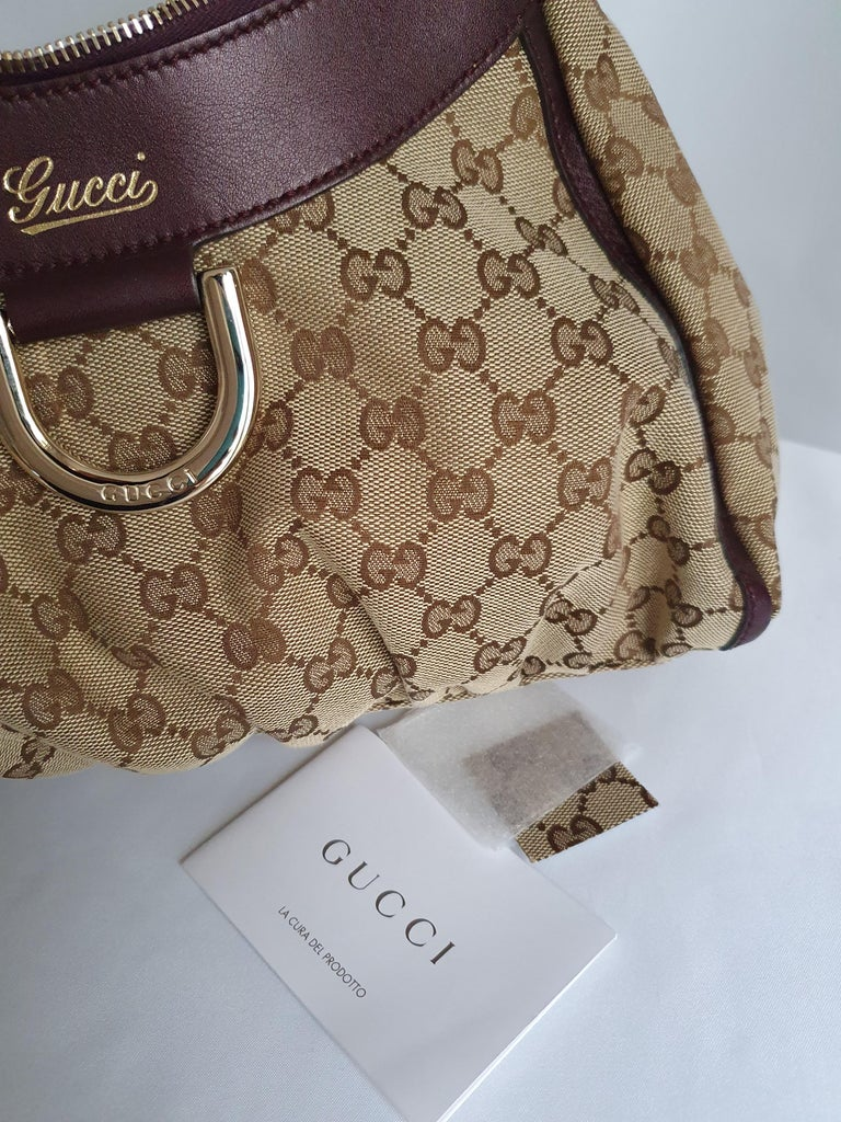 Gucci, D-ring Hobo in brown canvas For Sale 7