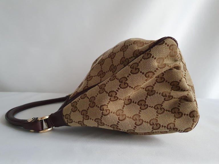 Gucci, D-ring Hobo in brown canvas For Sale 8