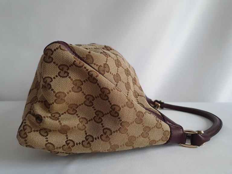 Gucci, D-ring Hobo in brown canvas For Sale 9