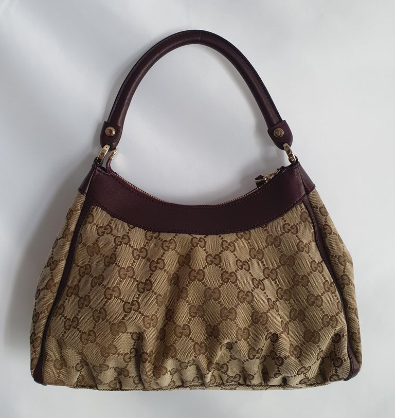 Black Gucci, D-ring Hobo in brown canvas For Sale