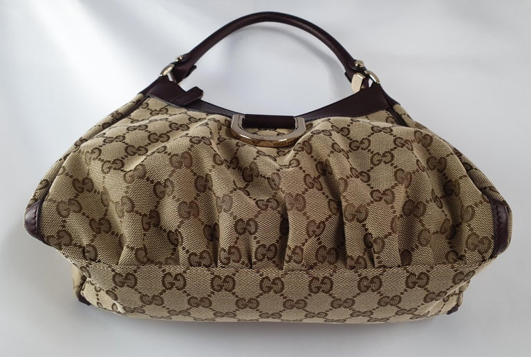 Gucci, D-ring Hobo in brown canvas For Sale 3