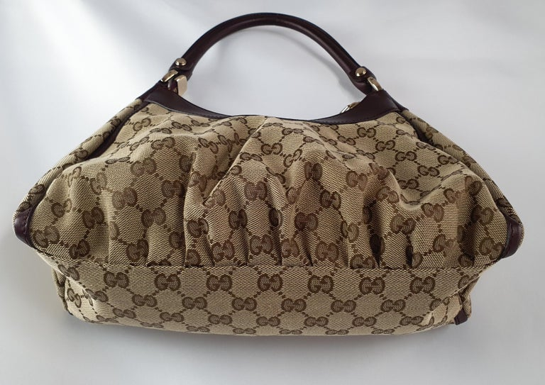 Gucci, D-ring Hobo in brown canvas For Sale 4