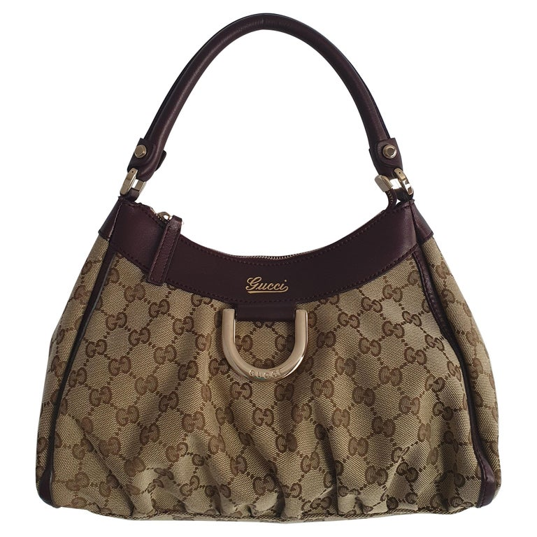 Gucci, D-ring Hobo in brown canvas For Sale