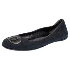 Gucci Dark Blue GG Canvas Interlocking GG Ballet Flats Size 36