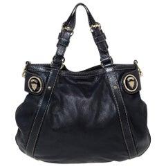 Gucci Dark Blue Leather Crest Embellished Shoulder Bag