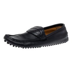 Gucci Dark Blue Leather Slip On Loafers Size 42.5