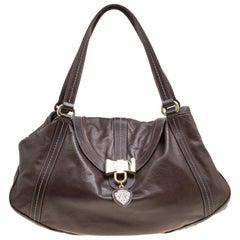 Gucci Dark Borwn Leather Duchessa Flap Satchel