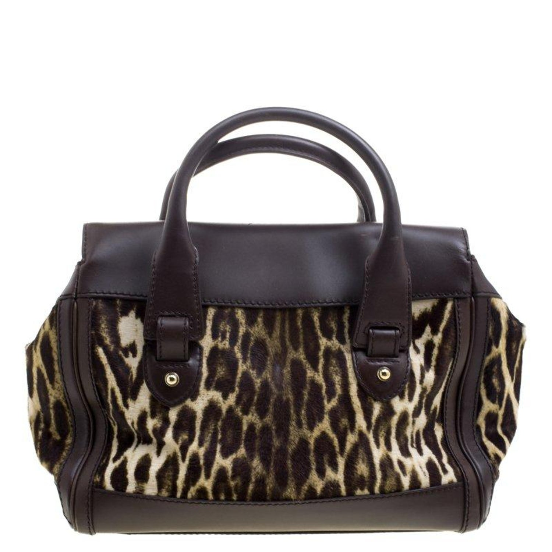 0c08f924027 Gucci Dark Brown Animal Print Calf Hair and Leather Heritage Boston Bag For  Sale at 1stdibs