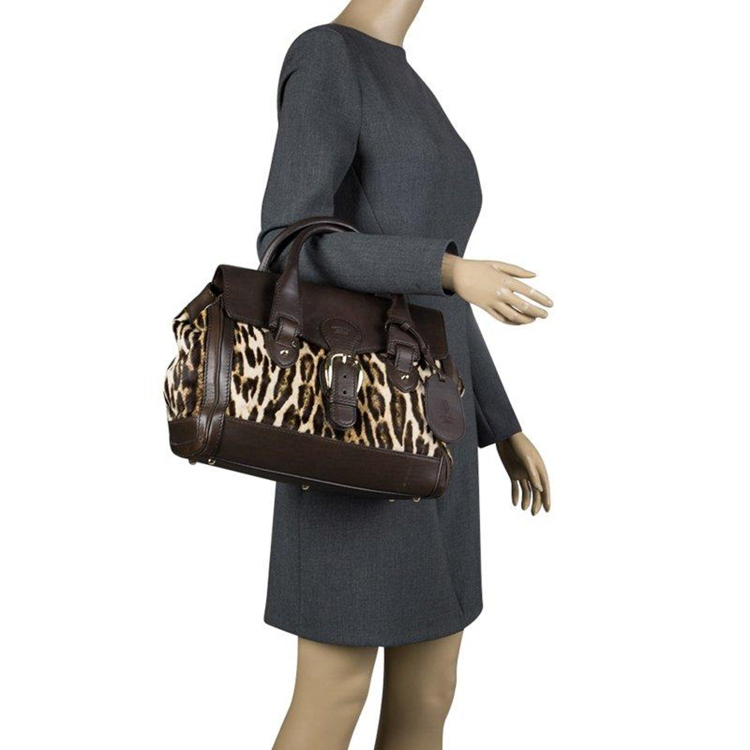 9afc4798598a Gucci Dark Brown Animal Print Calf Hair and Leather Heritage Boston Bag For  Sale at 1stdibs