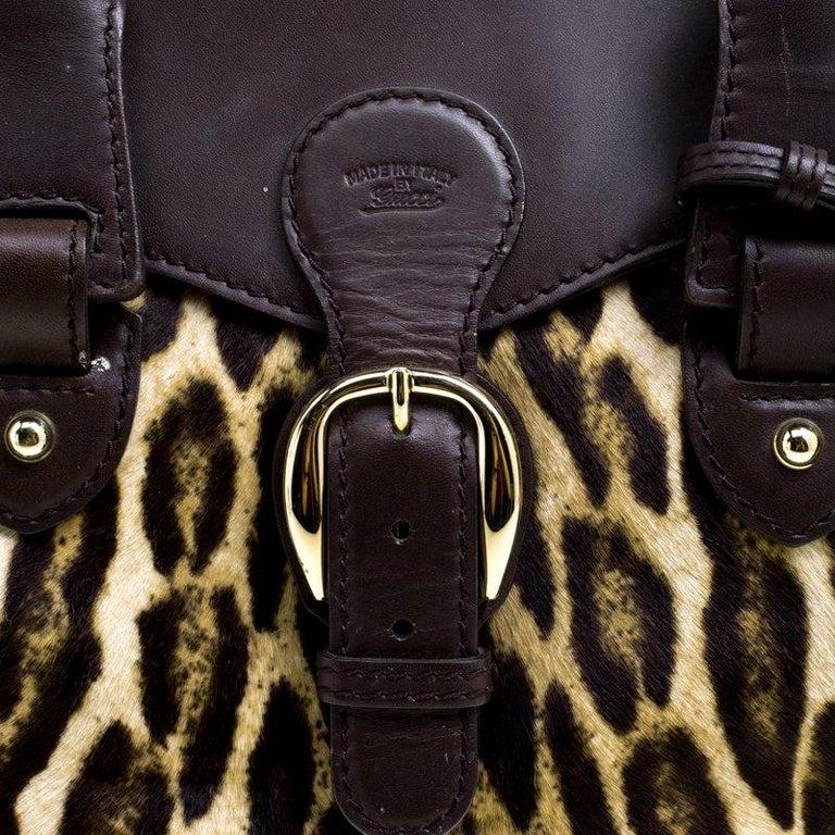 3e6b6571163e Women s Gucci Dark Brown Animal Print Calf Hair and Leather Heritage Boston  Bag For Sale