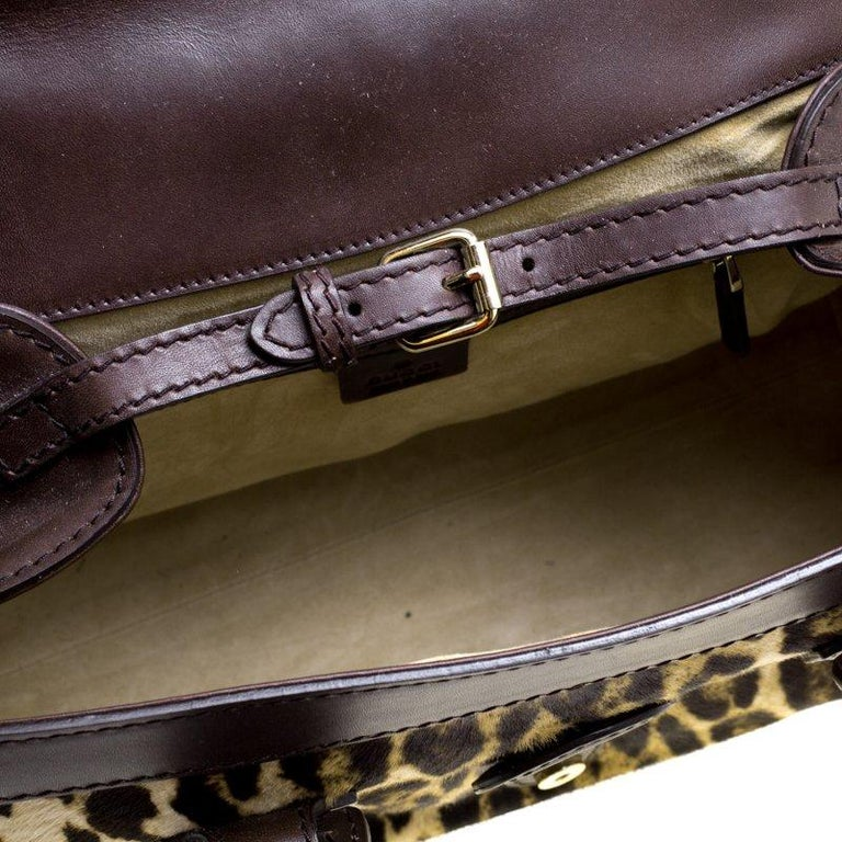 39142a53cf2 Gucci Dark Brown Animal Print Calf Hair and Leather Heritage Boston Bag For  Sale 2