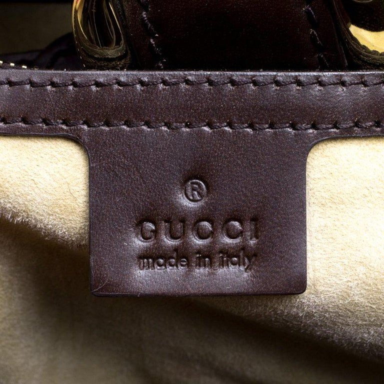f7e81ec756a Gucci Dark Brown Animal Print Calf Hair and Leather Heritage Boston Bag For  Sale 4