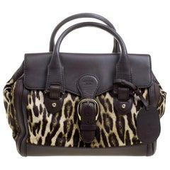 Gucci Dark Brown Animal Print Calf Hair and Leather Heritage Boston Bag
