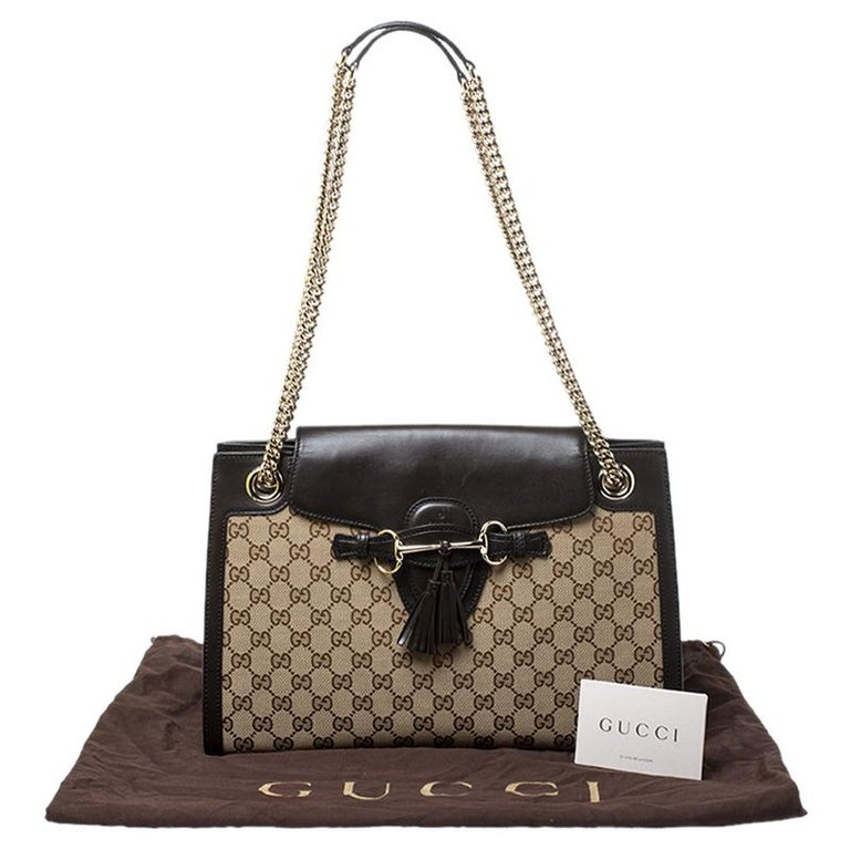 Gucci Dark Brown/Beige GG Canvas and Large Emily Chain Shoulder Bag For Sale 8