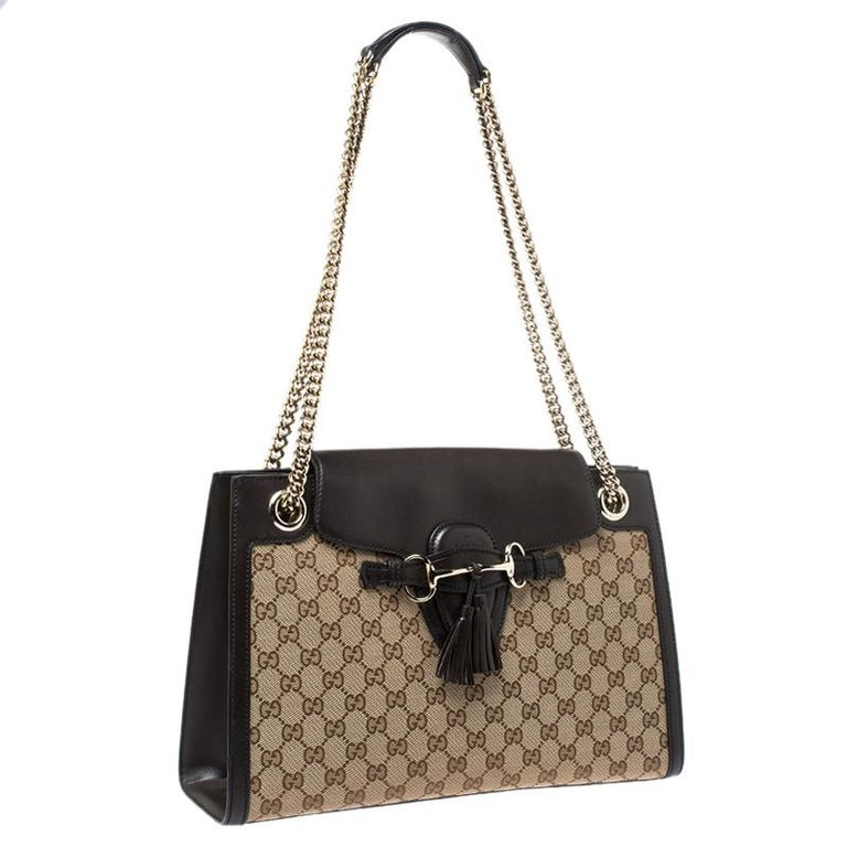 Women's Gucci Dark Brown/Beige GG Canvas and Large Emily Chain Shoulder Bag For Sale