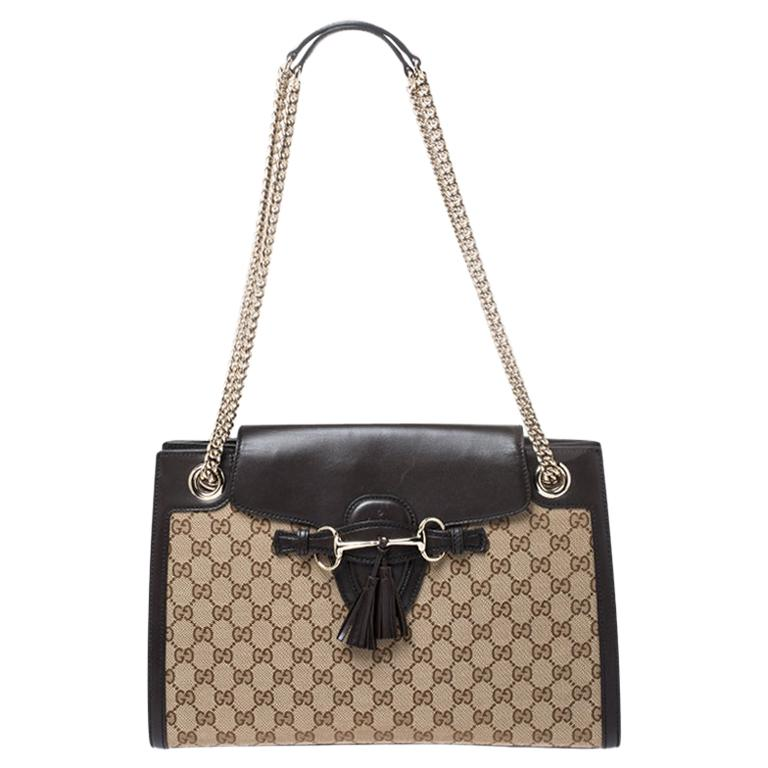 Gucci Dark Brown/Beige GG Canvas and Large Emily Chain Shoulder Bag For Sale