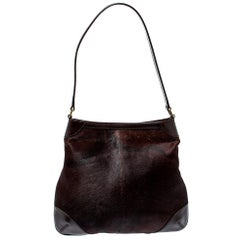 Gucci Dark Brown Calfhair and Leather Hobo