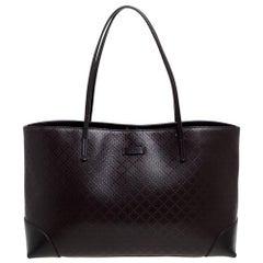 Gucci Dark Brown Diamante Leather Medium Bright Tote