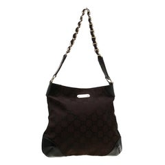 Gucci Dark Brown GG Canvas and Leather Chain Hobo