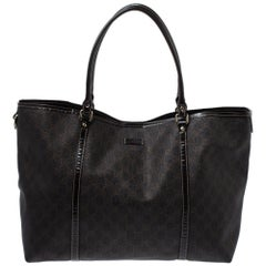 Gucci Dark Brown GG Coated Canvas and Patent Leather Large Joy Tote