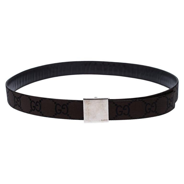Gucci Dark Brown GG Fabric Logo Plague Buckle Belt 90CM For Sale