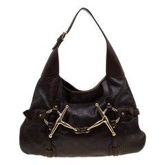 Gucci Dark Brown Guccissima Leather 85th Anniversay Bridal Bit Hobo