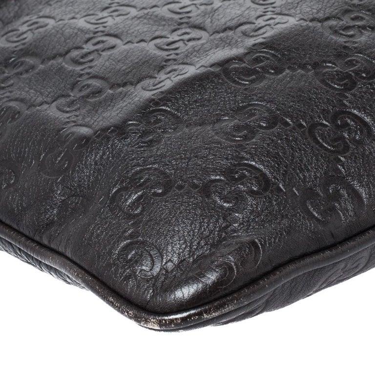 Gucci Dark Brown Guccissima Leather Crossbody Bag For Sale 5