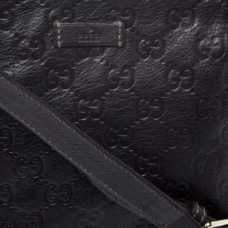 Gucci Dark Brown Guccissima Leather Crossbody Bag For Sale 6